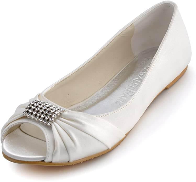 White open toe flats