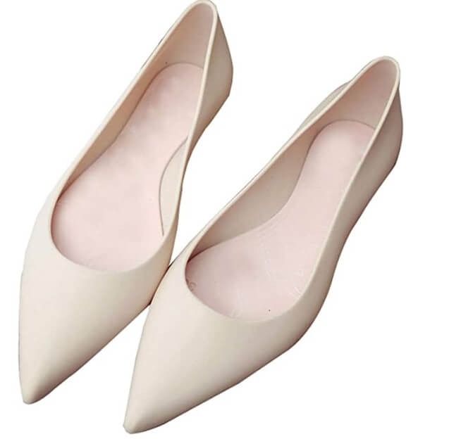 White pointed toe flats