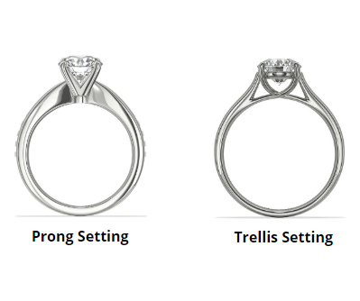 prong ring vs trellis ring side by side