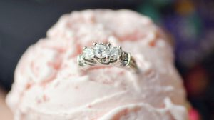 Trellis engagement ring closeup