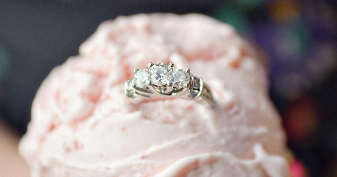 Trellis engagement ring closeup