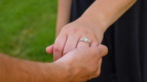 Bride wearing G color diamond