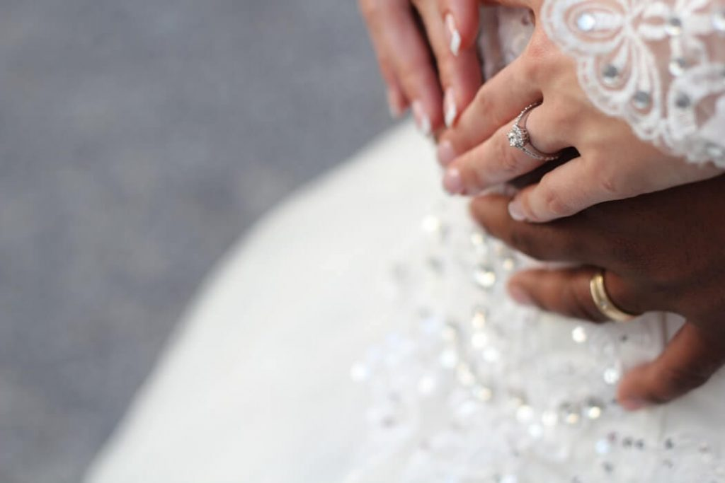 Girl wearing eco-friendly engagement ring