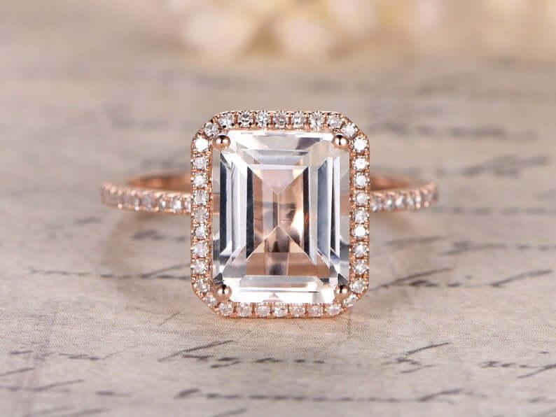 Emerald cut topaz ring