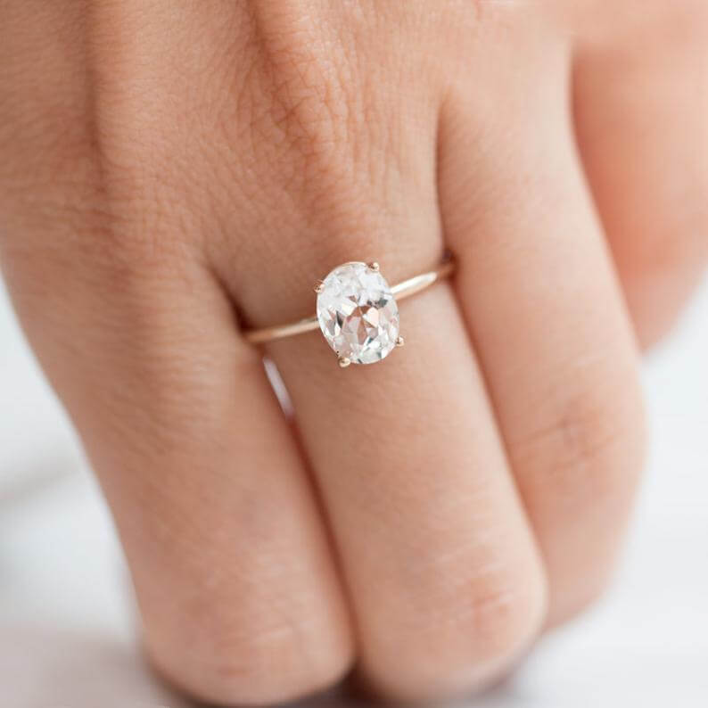 White sapphire ring simple