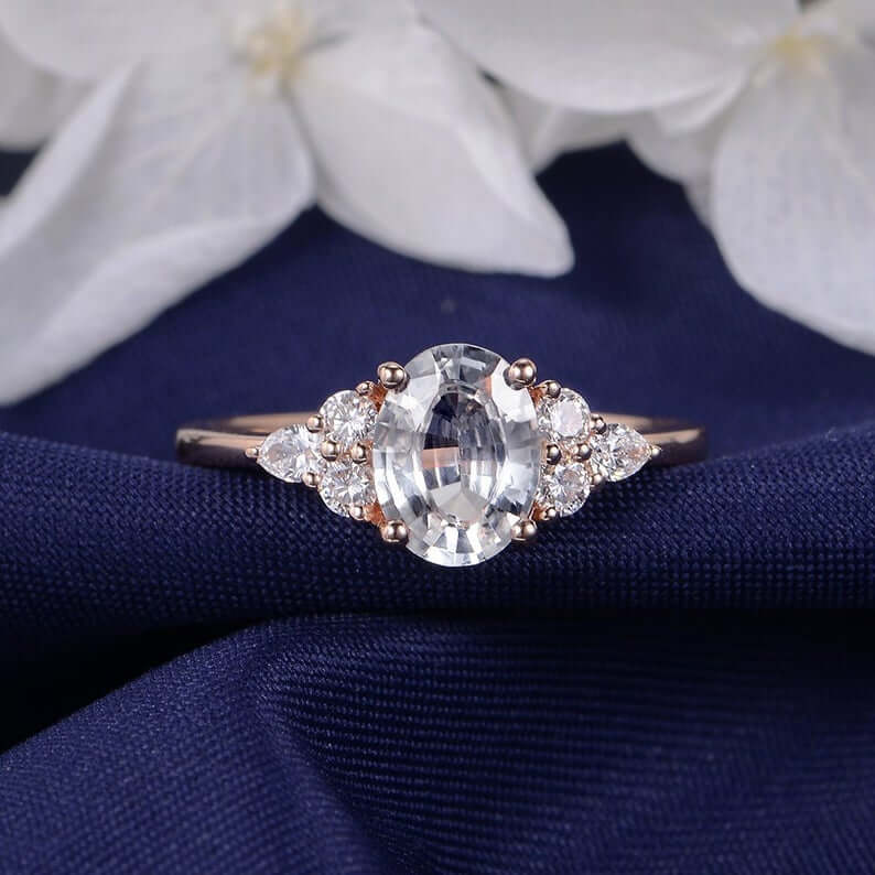 Sapphire ring cluster setting