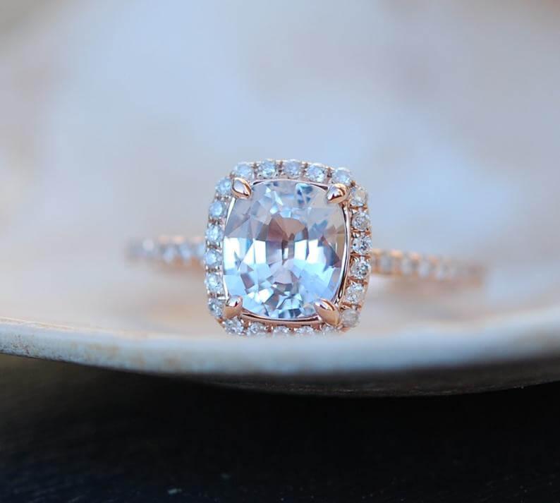 White sapphire engagement ring closeup