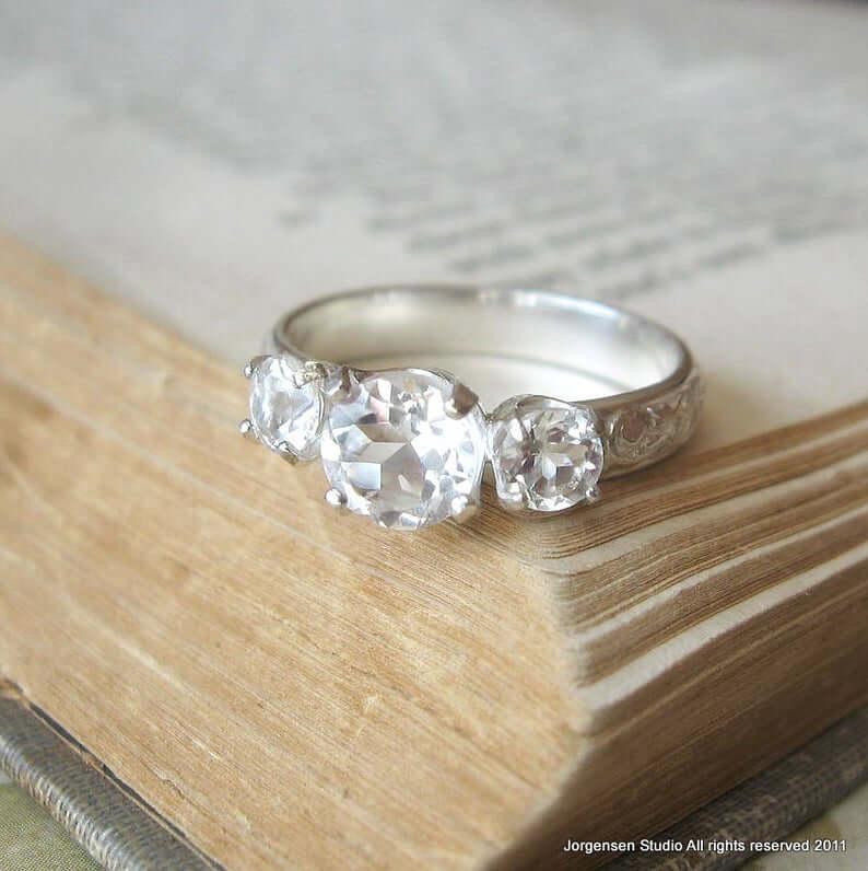 three stone white topaz engagement ring