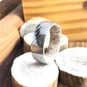 Bone inlay damascus steel ring
