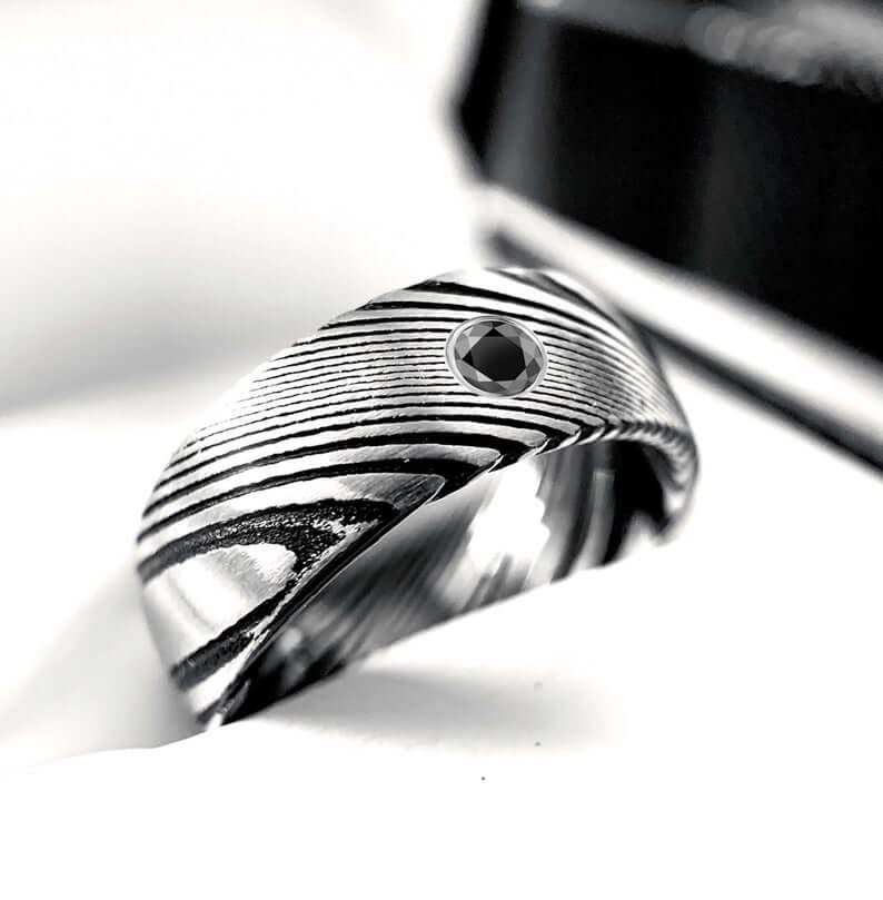 Damascus steel diamond ring
