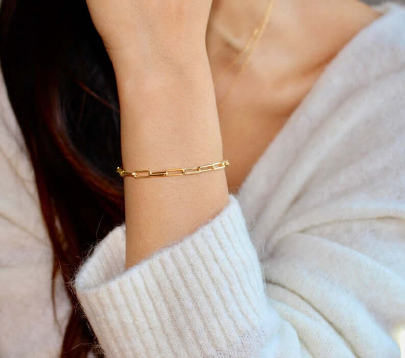 Gold filled paperclip bracelet