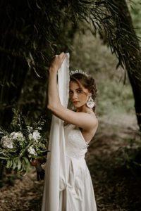 Girl wearing comfortable wedding earrings