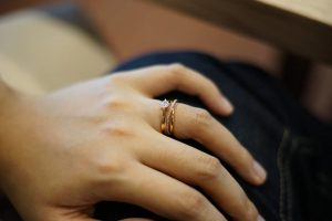 Dainty engagement and wedding rings