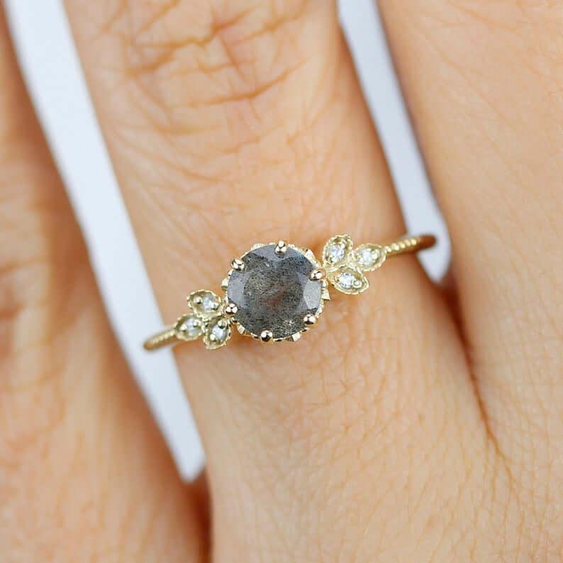 Labradorite grey ring