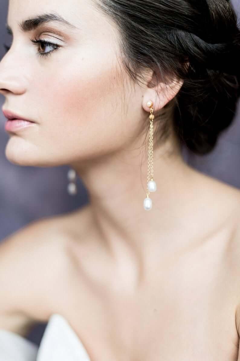 Long earrings for wedding day