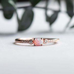 Opal gold vermeil ring
