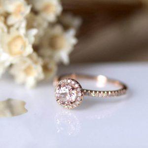 Petite engagement ring moissanite