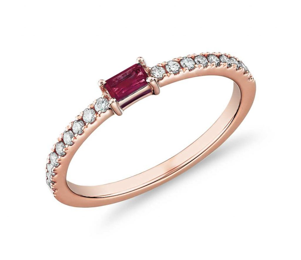 Ruby center-stone wedding band