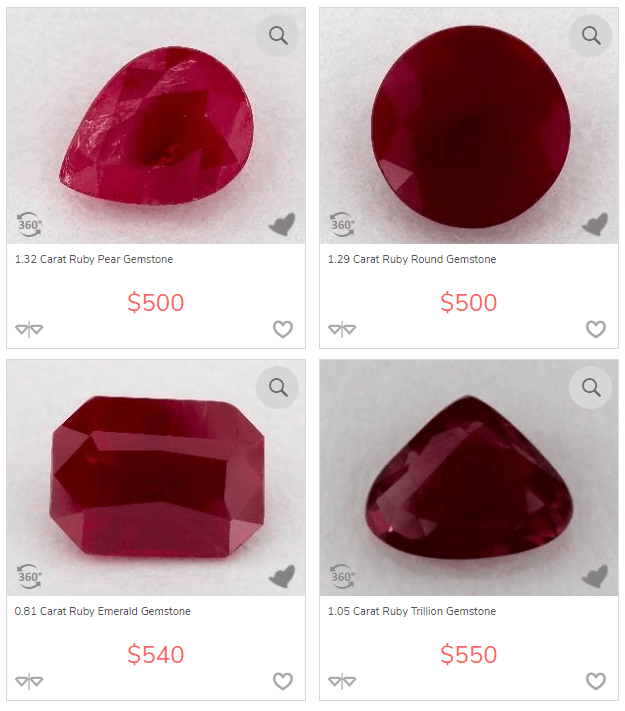 Ruby gemstone with different shapes