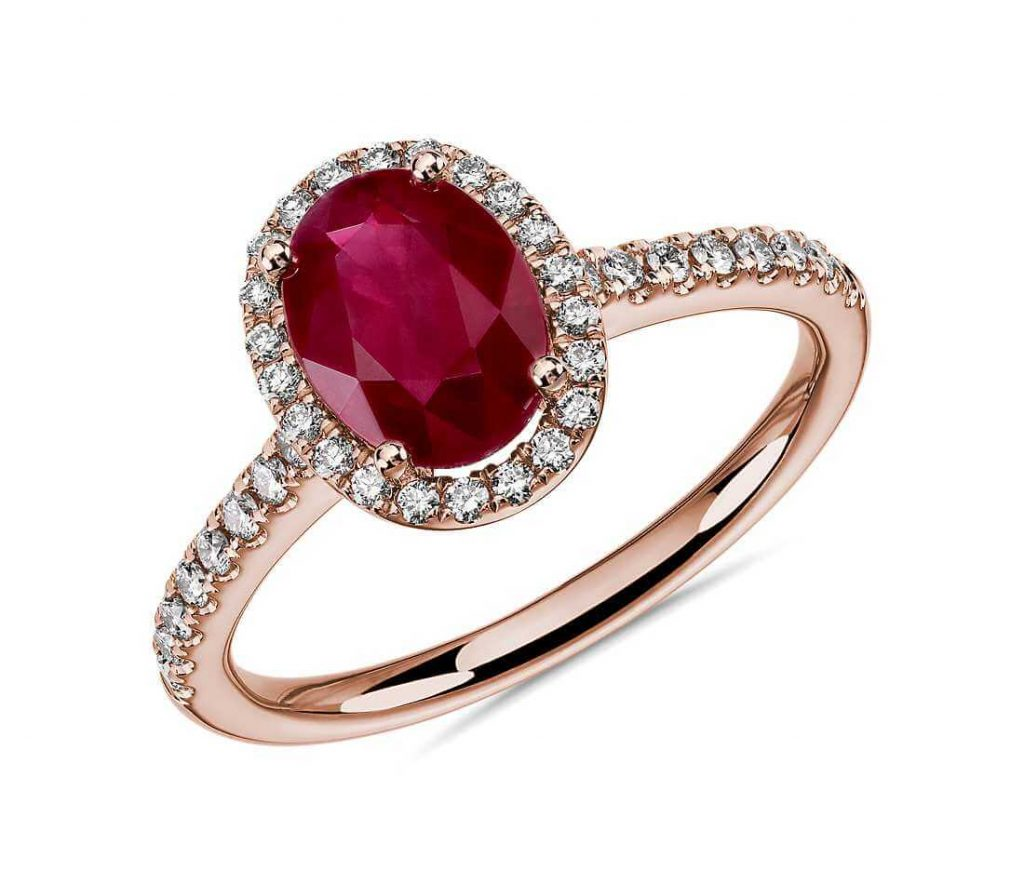 Red ruby in rose gold setting ring