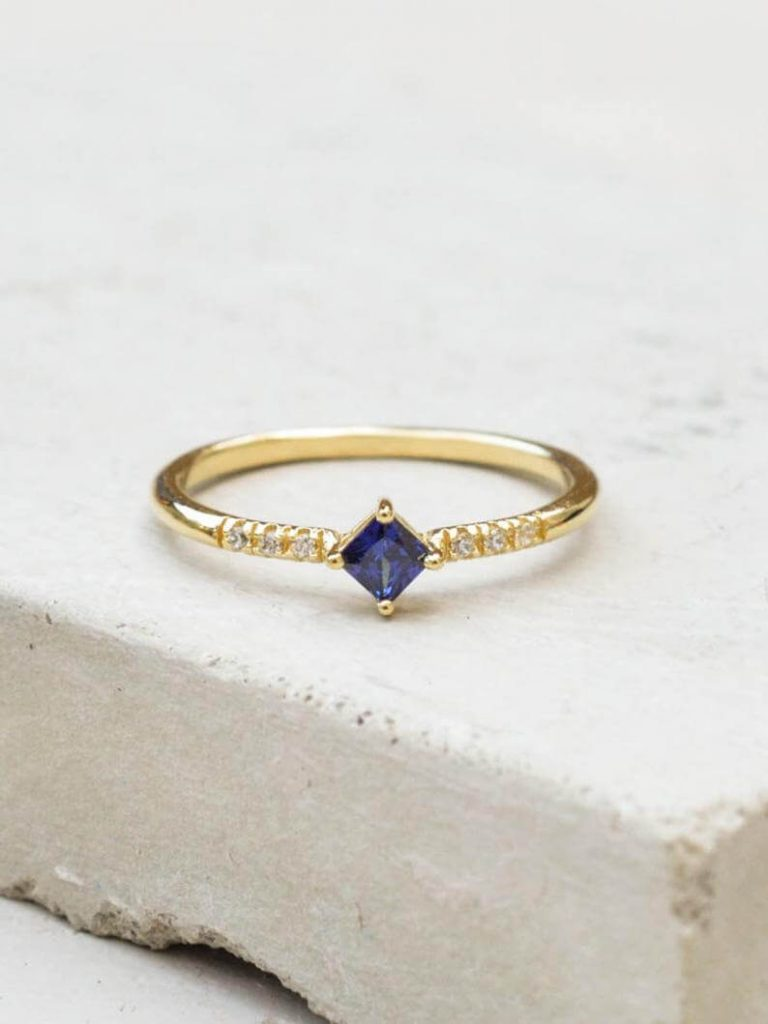 Small sapphire engagement ring