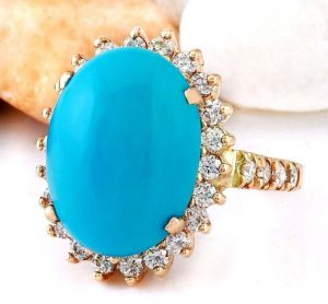 Blue turquoise engagement ring