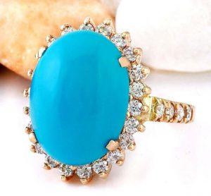 Blue turquoise engagement ring
