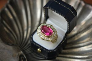 vintage red ruby ring in a black box
