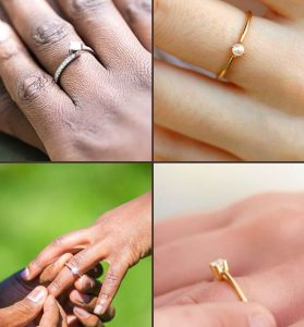 Dainty engagement ring on finger collection