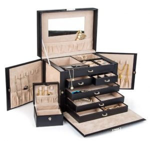 Kendal Black Leather Jewelry Box