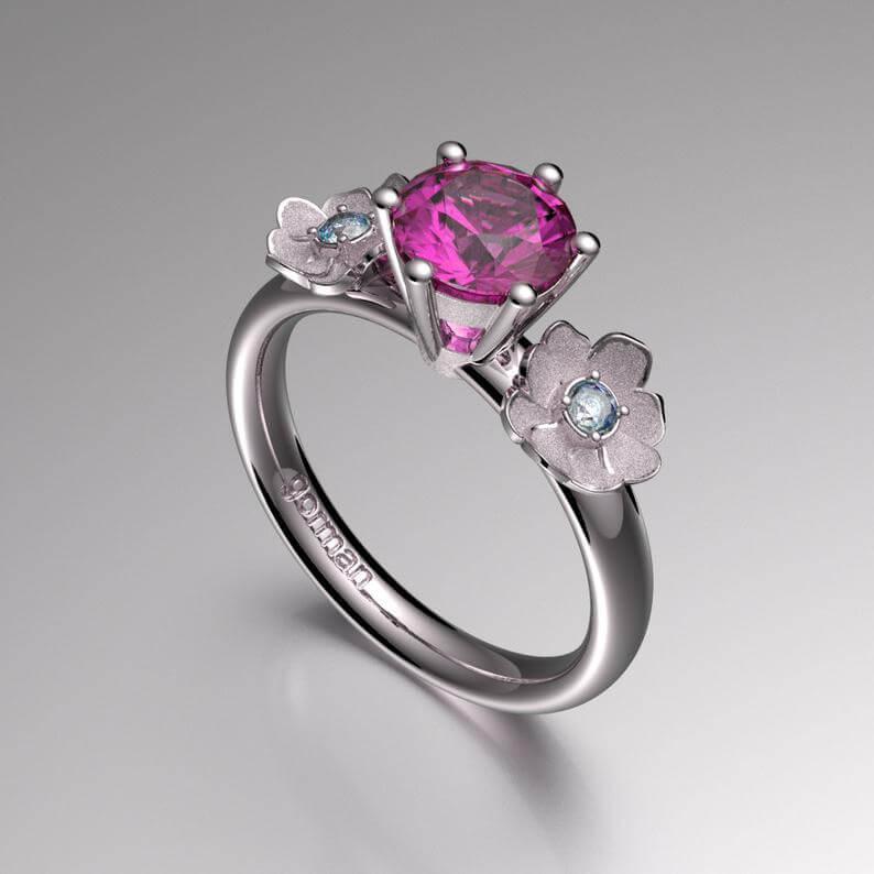 Amethyst floral ring