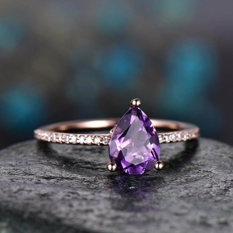 Amethyst pave ring