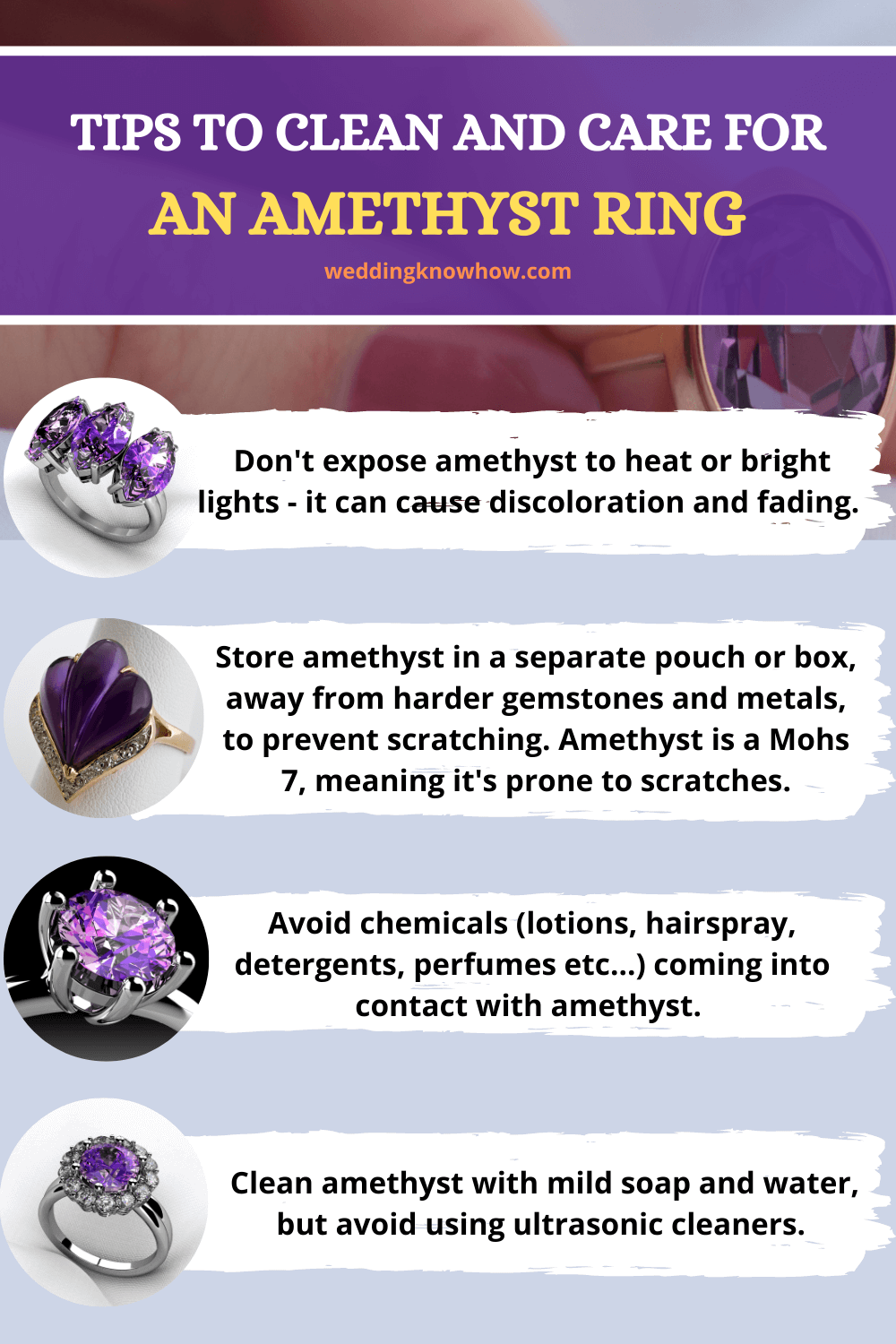 Cleaning and caring for amethyst