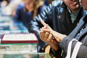 couple engagement ring shopping together