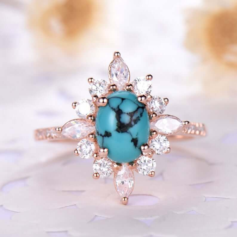 Floral halo turquoise ring
