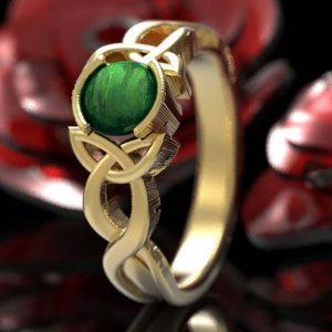 Jade trinity knot ring