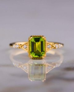 Peridot emerald cut ring