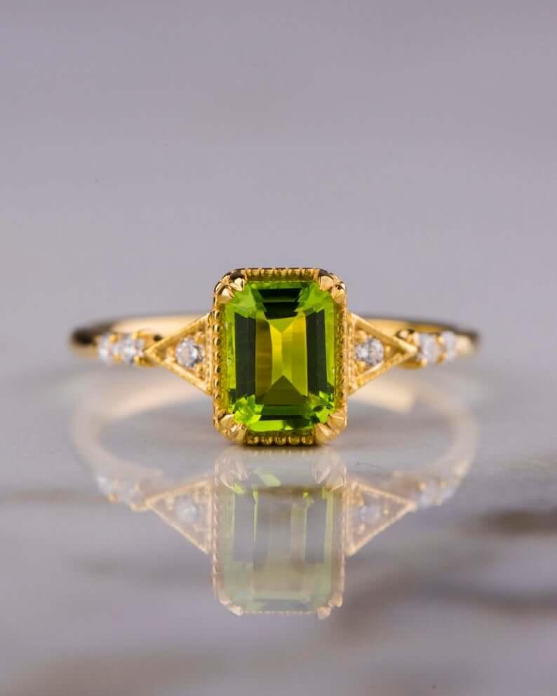 Peridot emerald cut ring
