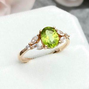 Peridot ring diamond side stones