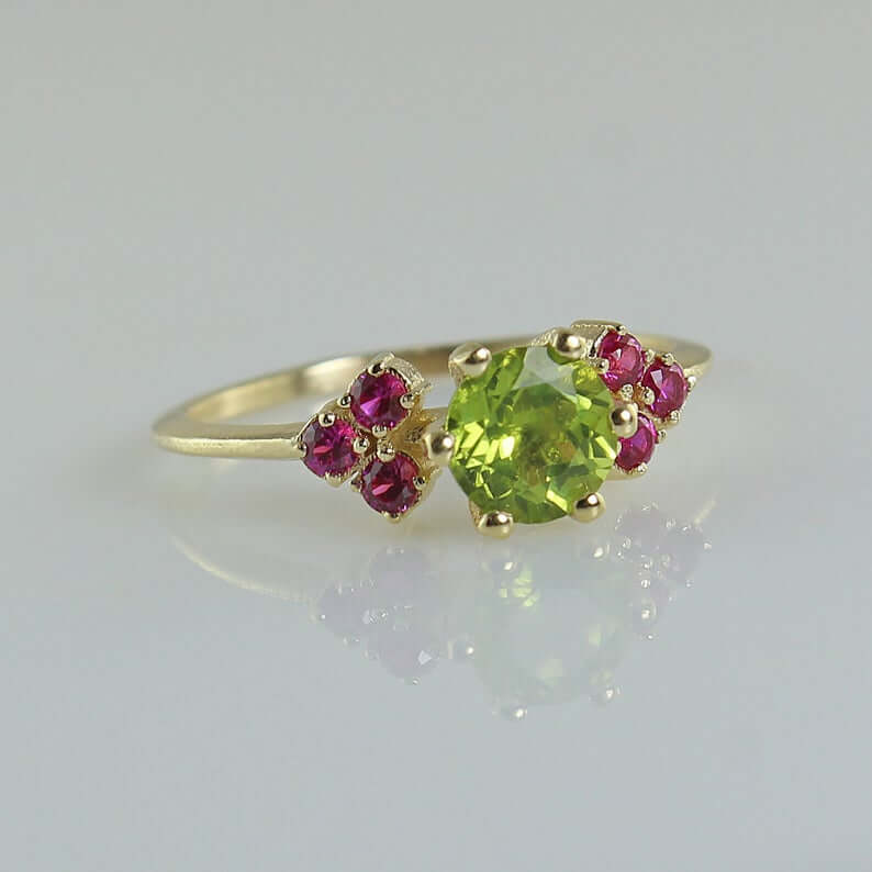 Peridot and ruby engagement ring