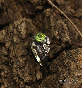 Peridot rustic ring