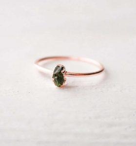 Peridot rustic small ring