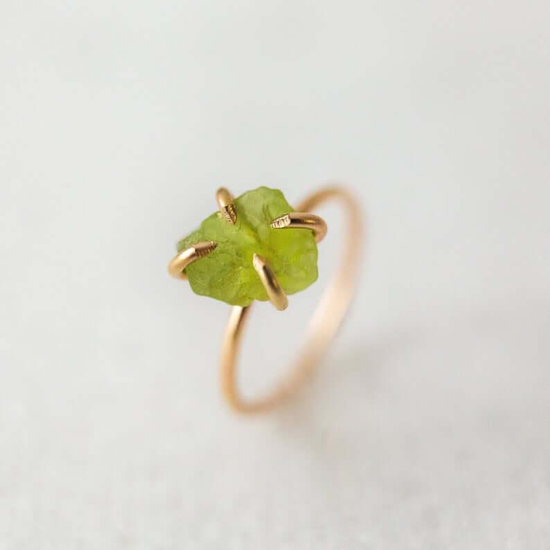 Raw Peridot ring