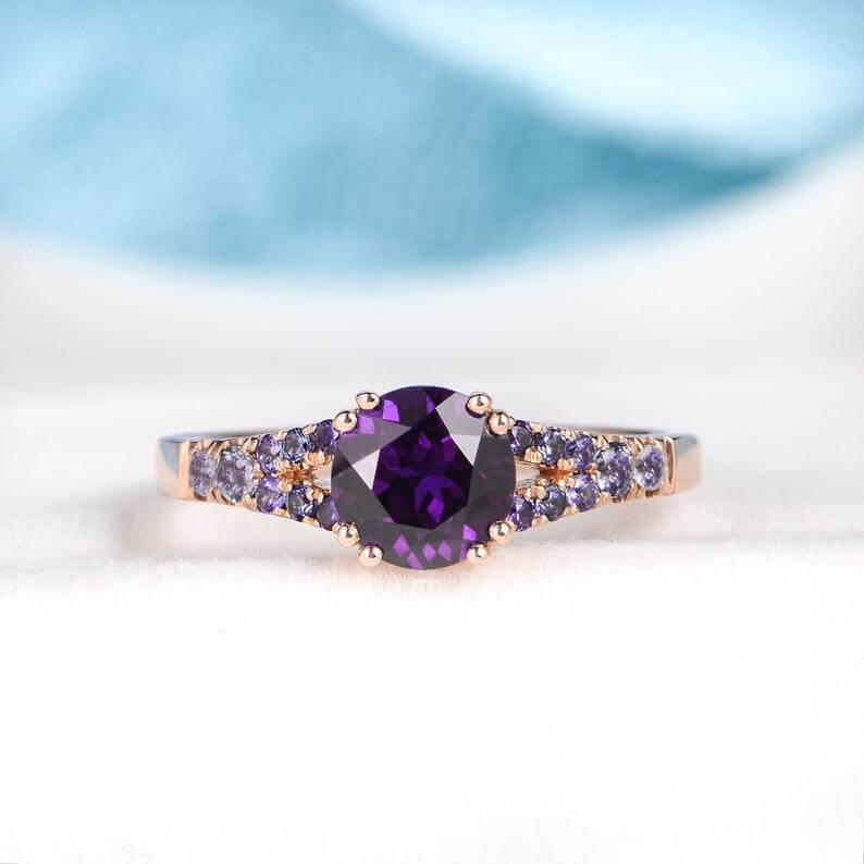 Thick band amethyst ring