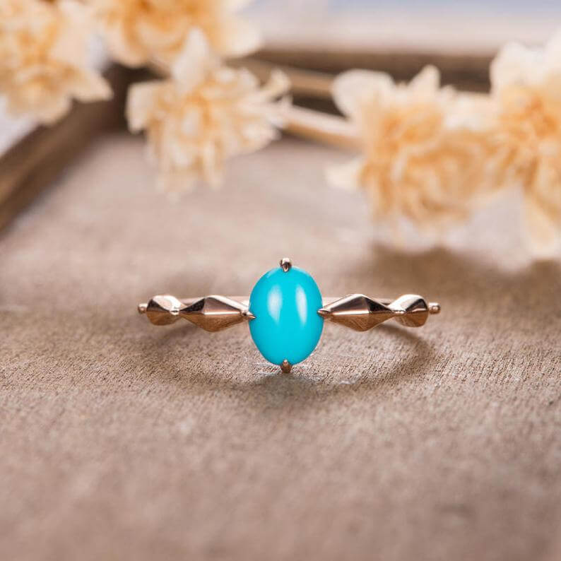 Traditional solitaire turquoise ring