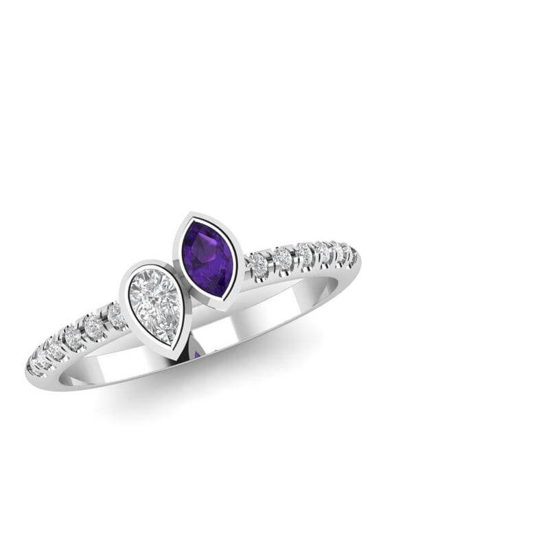 Unique amethyst diamond engagement ring