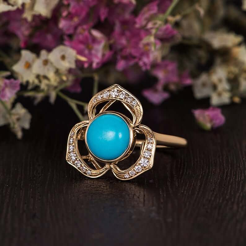 Unique floral style turquoise ring