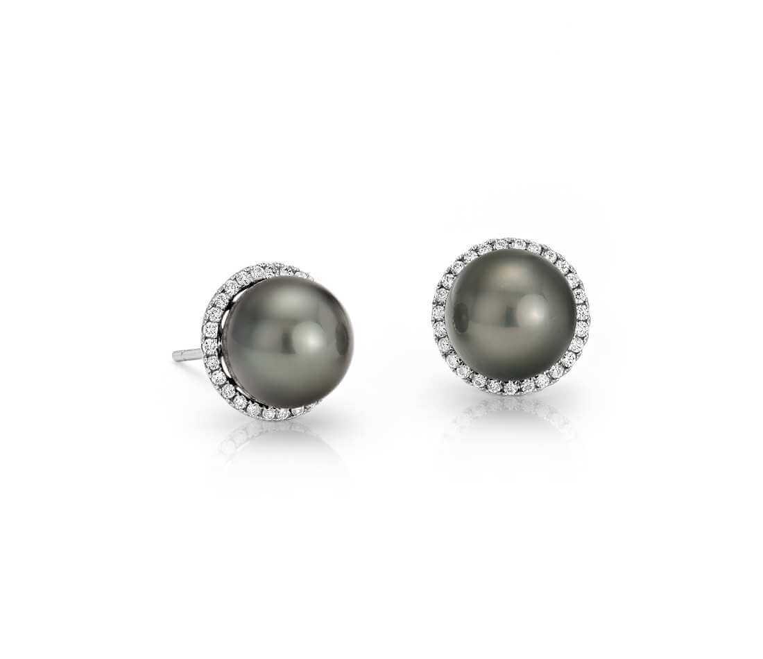 Black pearl studs with diamond halo