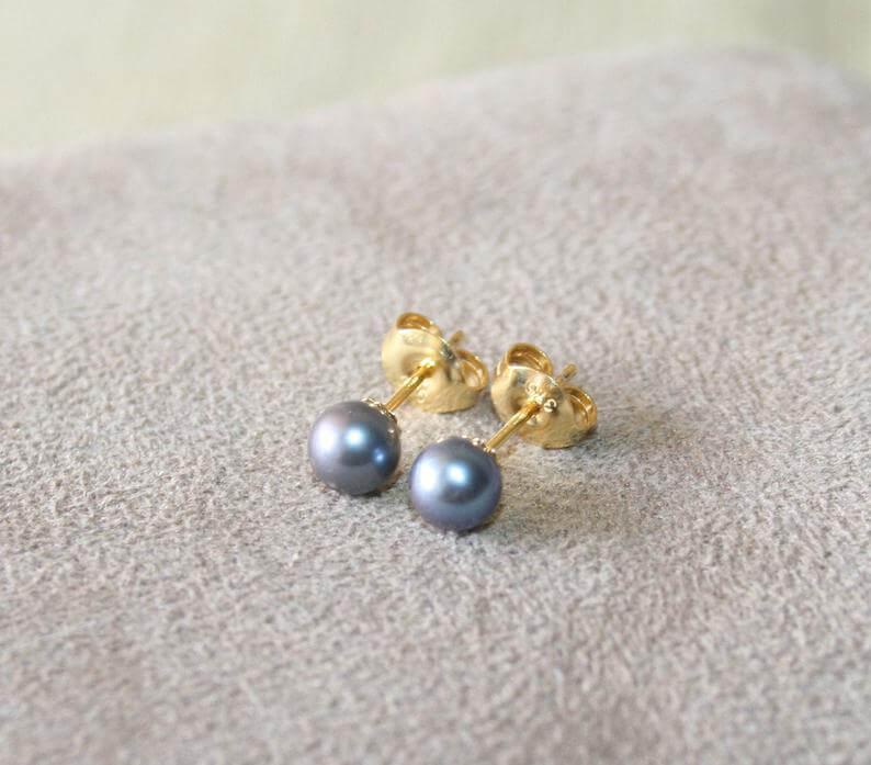 Blue pearl studs