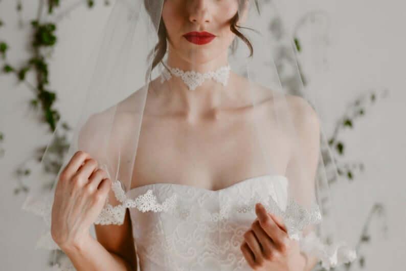 Lace bridal choker